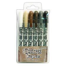 TIM HOLTZ Ranger Ink DISTRESS CRAYONS Set 3 47926 Black Soot Picket Fence Walnut