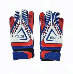 EFAH Football Goalkeeper Gloves Boys Kids Children Soccer Goalie Gloves Blue