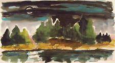 ORIGINAL FULL MOON  Landscape Watercolor JMW art John Williams Expressionism