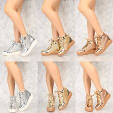 Shiny Mirror Fashion Shoes High Top Ankle Boots Wedge Sneakers Hidden Heels S28