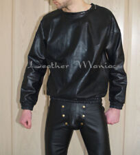 NEW black leather pullover sweater sweat shirt jumper