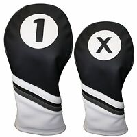 Majek Golf Headcover Black & White Leather Style 1 & X Driver & Wood Head Cover