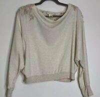 Anthropologie Meadow Rue Women's XS Top Knit Sweatshirt Cropped Crochet Boho