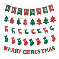 Festive Merry Christmas Tree Reindeer Hanging Banner Bunting Room Decorations UK