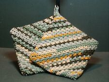 Double Thick Crocheted Hot Pad Pot Holder Pair - Summer Meadow - greens yellows