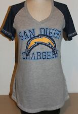 NFL San Diego Chargers Majestic Women's Better Believe Fashion Top - Gray/Navy
