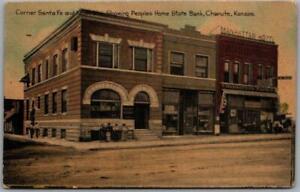 "1910s CHANUTE, Kansas Postcard ""Peoples Home State Bank"" Corner Santa Fe & Main"