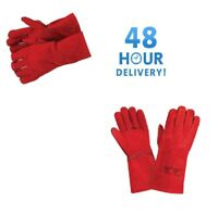 Welding Gloves Red Welders Gauntlet Long Lined High Temperature Log Fire 10 X
