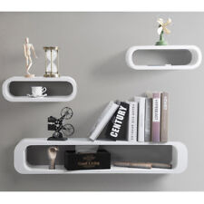 Floating Wall Shelf Shelves Storage Lounge Cube Mounted Display MDF Wood U057 White