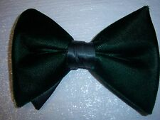 New Green Velvet bow tie - mens clip on style - Large Butterfly Bow 70's vintage