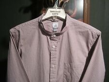 XL FITTED 17.5-35/36 2-PLY PREMIUM COTTON PLAID BANDED COLLARLESS WESTERN SHIRT