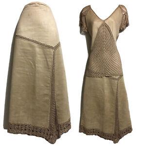 Y2K Vtg 90s Western UK 10 S Suedette Skirt Crochet Top Faux Leather Vegan Hippie