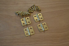 SMALL BRASS / GOLD FINISH HINGES (4 per set with screws) PROKRAFT PKR MBH