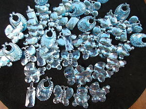 50 BLUE MIXED BABY SHOWER CONFETTI TABLE SPRINKLES DECORATIONS . #1 FREE P&P