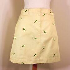 J Crew Short Skirt size 12 Yellow w/Green Salamanders Casual Cotton Denim NWT