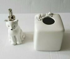 White Cat Soap & Lotion Dispenser with Kleenex Box Tissue Holder