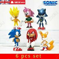 Sonic The Hedgehog Knuckles Tails Action Figure Model Kids Toy Cake Topper  6 pc