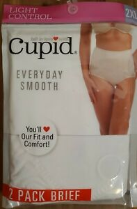 Cupid Everyday Smooth 2 Pack Brief WHITE Light Tummy Control Shapewear NEW
