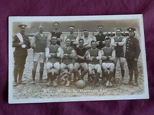 VINTAGE WW 1 ERA REAL PHOTO POSTCARD, 4TH RES BN. NORTHANTS RECT..FOOTBALL TEAM