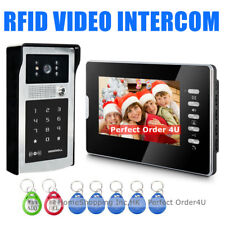 "NEW WIRED 7"" VIDEO DOOR PHONE INTERCOM + RFID CARD & PASSWORD ACCESS CAMERA"