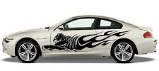 (S4)JUMPING FIRE FLAME WILD TIGER PANTHER TRUCK CAR SIDE DECAL VINYL STICKER