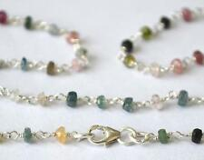 "SOLID 925 STERLING SILVER NECKLACE 3.5MM  18"" - FINE MULTI TOURMALINE BEADS#2601"