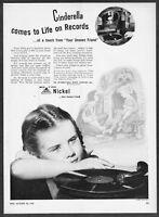 1947 Cinderella Shoe Prince art & Story on Record photo INCO vintage print ad