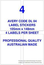 AVERY CODE DL 04 LABEL STICKERS 4 PER SHEET X 100 SHEETS SHIPPING POST MAIL