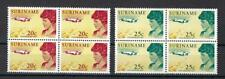Suriname 1967 Sc# 345-46 set Amelia Earhart Plane Dutch colony blocks 4 MNH