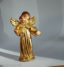 """Vintage Angel Playing Violin Italy gold tone 3.75"""" hand painted face"""