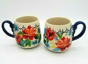 Set of 2 The Pioneer Woman 16 Oz Stoneware Spring Bouquet Floral Mugs Cups