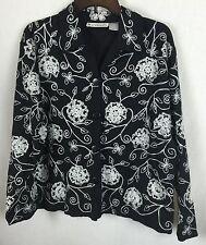 Dressbarn M Linen Blend Lined Floral Embroidered  Blazer Coat Jacket -