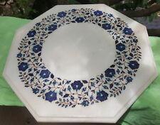 Magnifique table indien en marbre Pietra Dura Bleu Travaillé à la main 10,5 kilo