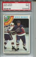 1978 Topps Hockey #115 Mike Bossy Rookie Card RC Graded PSA MINT 9 Islanders