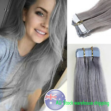 18Inch 45cm Tape in Skin Weft Remy Human Hair Extensions Grey 20Pcs 40gram 7A