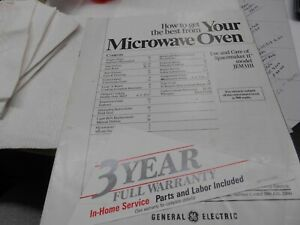 Your Microwave Oven Model JEM31H manual