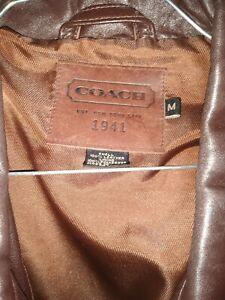 Coach Men's Brown Leather Zippered Jacket - Medium