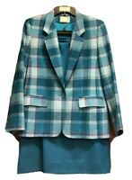 Pendleton Blue Skirt Suit Size 10 Plaid Blazer A Line Skirt 100% Virgin Wool