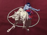 Selected Collection Mens L Western Brick Red Bull Rider Cowboy Button Shirt EUC