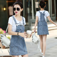 Korean Women Casual Denim Sleeveless Overalls Jumper Slip Dress Suspender Skirt