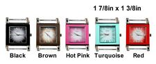 2pcs Square Colored Ribbon Watch Faces For Interchangeable Beaded Bands