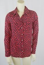 J Crew womens blouse top heart throb print 100% Silk Red Boy Shirt JCrew xxs