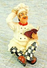 "Kitchen Restaurant 5.25"" Tall Squatting Thinking Chef w/ Book Resin Figurine"