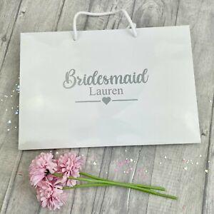 PERSONALISED BRIDESMAID GIFT BAG, Luxury White Bag, Bridal Party Present Wedding