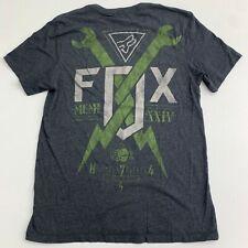 Fox Short Sleeve T Shirt Mens M Gray Graphic Print Crew Neck Slim Fit Casual
