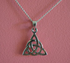 925 Sterling Silver Triangle Irish Knot Ireland Celtic Charm Necklace Jewelry