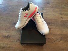 Ladies Under Armour Performance SL Golf shoes white and orange UK 4