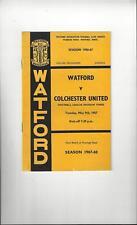 Watford v Colchester United Football Programme 1966/67