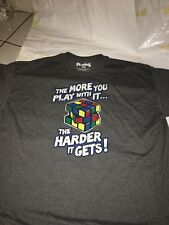 RUBIK'S CUBE SHIRT TSHIRT THE MORE YOU PLAY WITH IT HARDER GETS RUBICK'S FUNNY