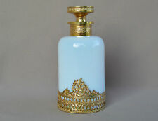 Italian White Opaline & Gold Brass Perfume Small Bottle - Murano